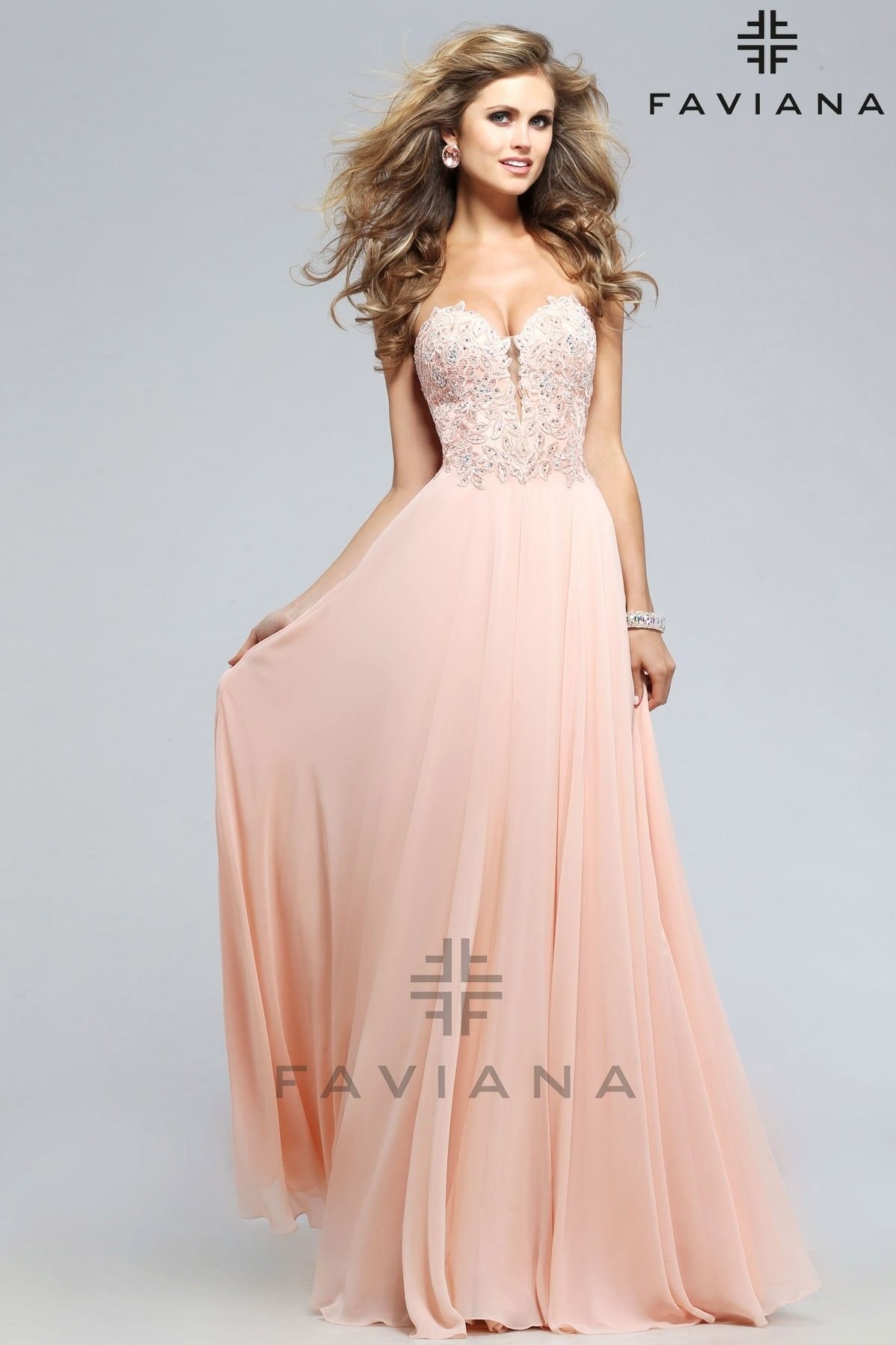 Faviana Strapless chiffon with lace applique and open back - Prom ...