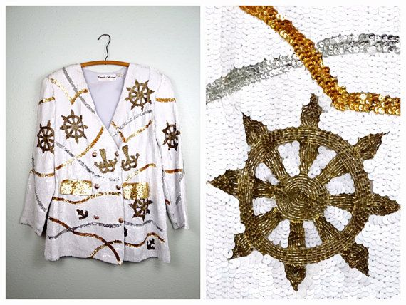 Nautical Art Deco Sequin Jacket / White Silver & Gold by braxae