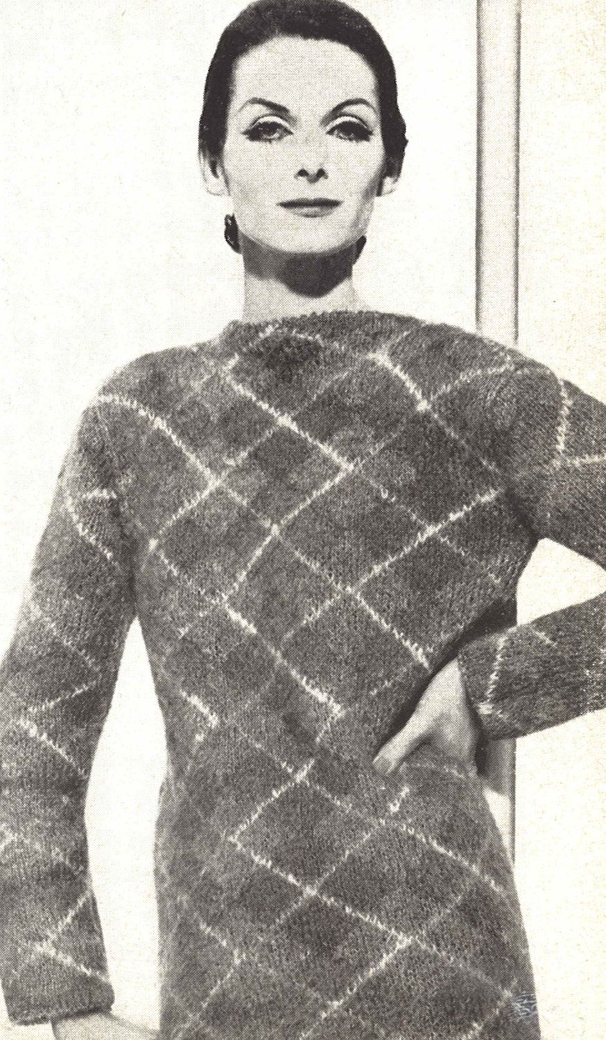 Lady Argyle • 1960s Knitting Skiing Sweater Pullover Pattern ...