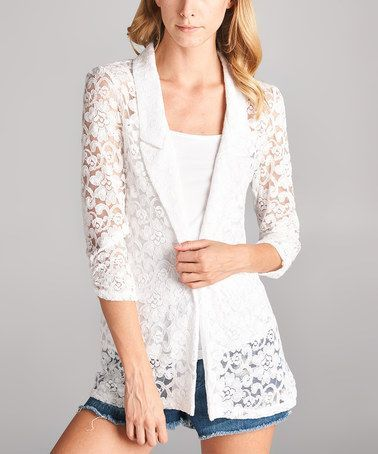 Look what I found on #zulily! Off-White Open Lace Cardigan ...