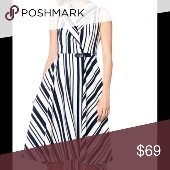 Navy and white high style dress Sleeveless wrap dress. Dresses Midi