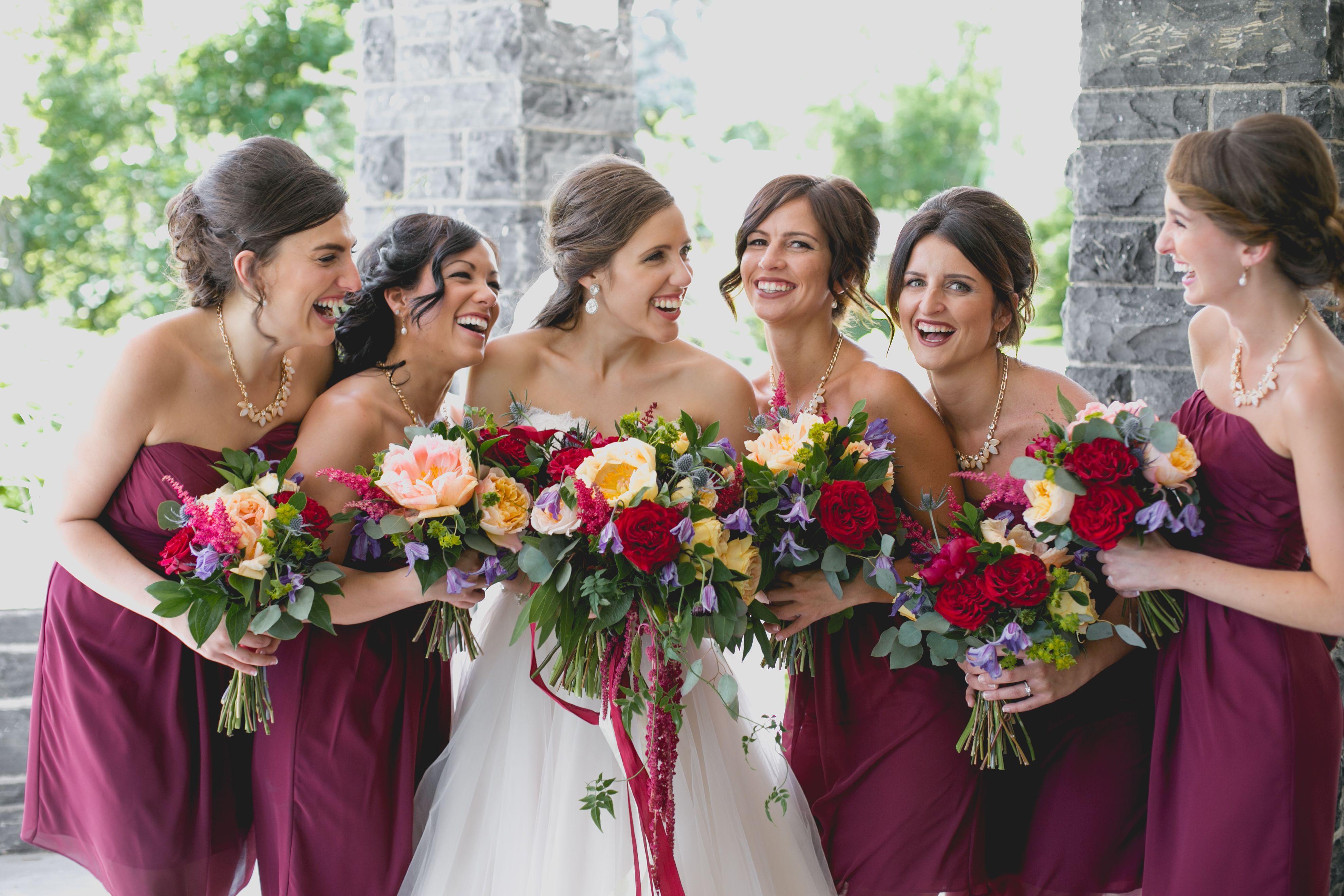 e41ca3593b Bill Levkoff bridesmaids dresses in wine