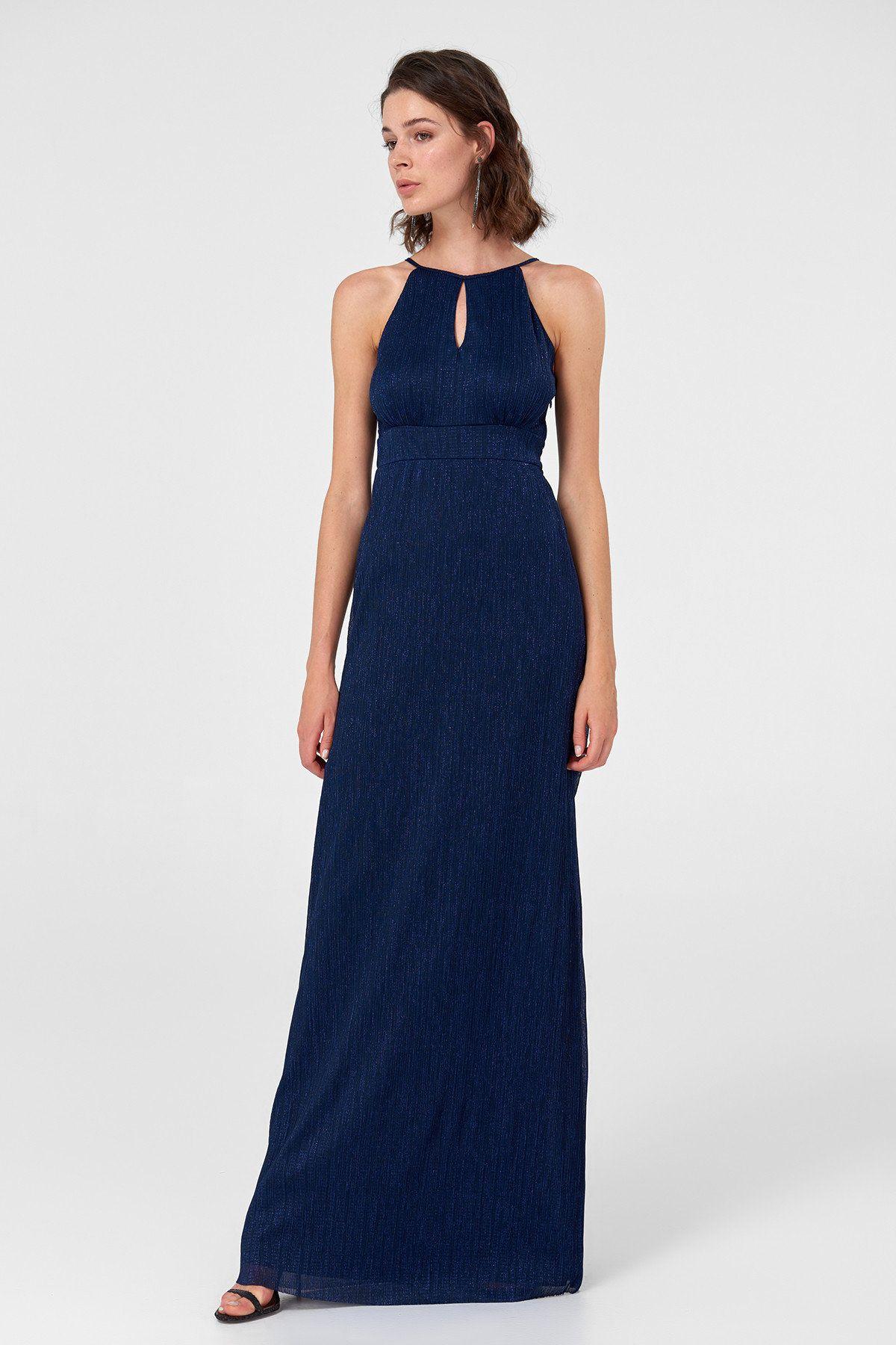 Lacivert Damla Dekolteli Abiye Elbise Tprss18yl0003 Trendyolmilla Trendyol Elbise Parti Elbisesi The Dress