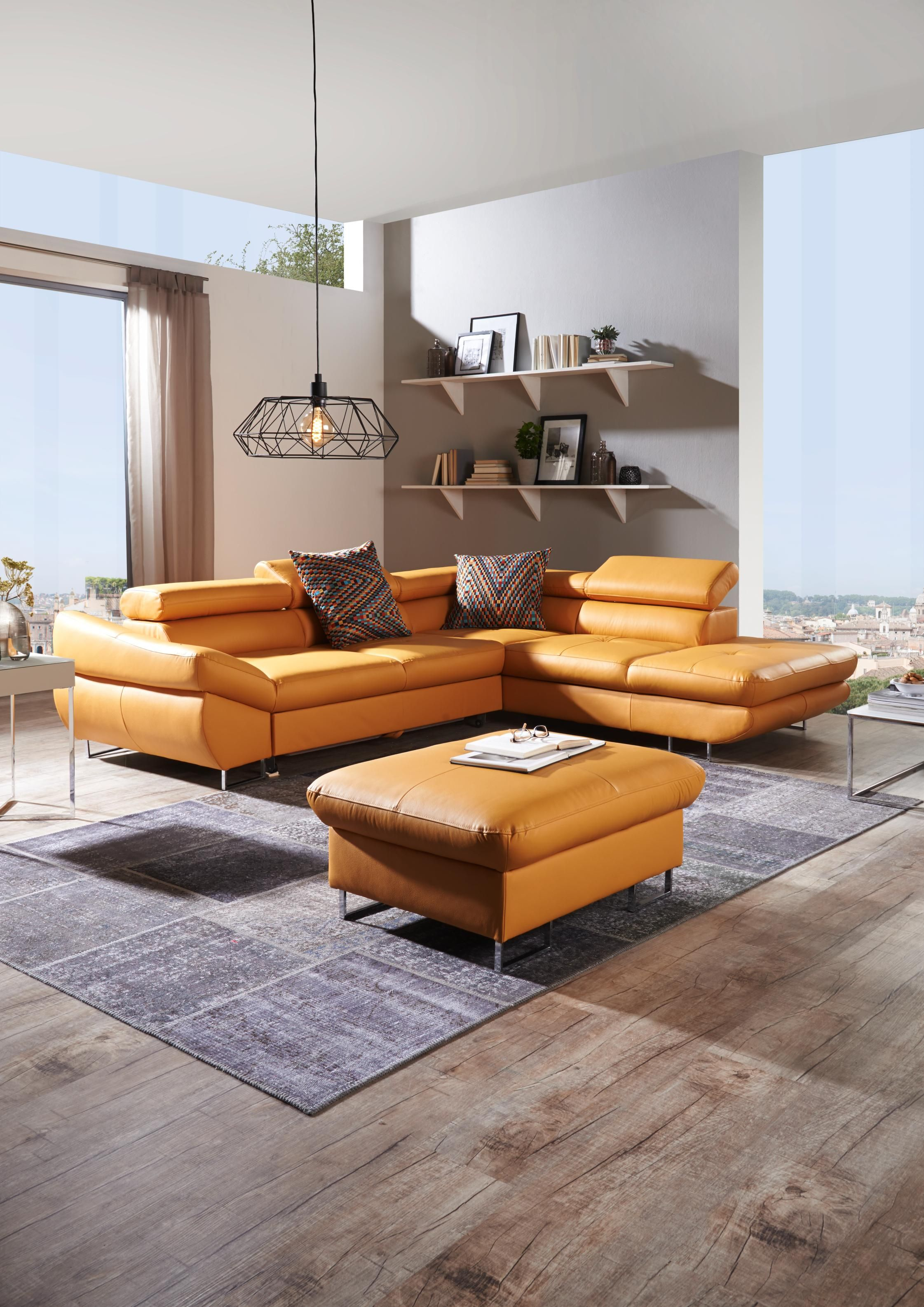 Leuchtende Wohnlandschaft Aus Echtem Leder Wohnzimmer Modern Couch Leder Haus Innenarchitektur