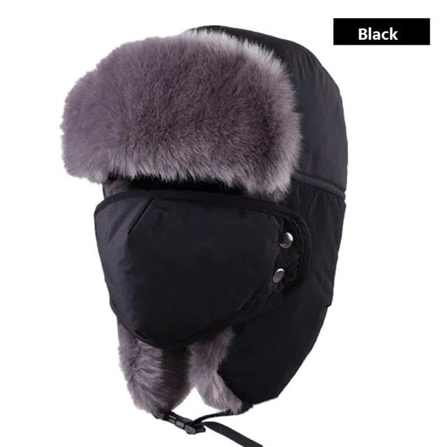 Unisex Winter Hiking Hats Windproof Hunting Outdoor Bomber Hats Thicken  Balaclava Cotton Fur Earflap Thermal Russian e0adf5b2420f