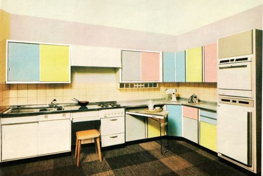 Pastel Resopal/Formica kitchen, 1960. Germany. From the