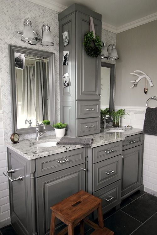Bathroom Makeover Vanity before and after: grey and white traditional bathroom makeover