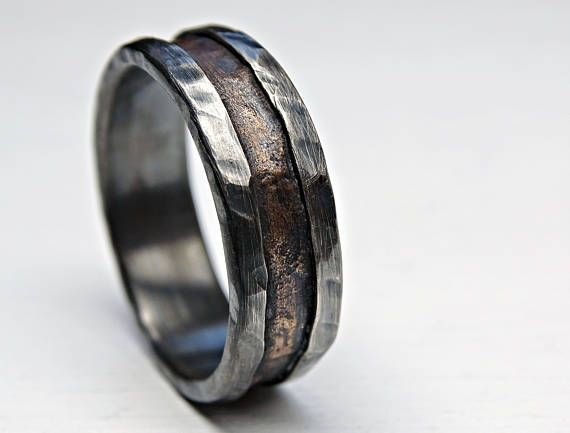 Cool Mens Ring Bronze Unique Wedding Band Bronze Silver Mens Etsy In 2021 Mens Engagement Rings Wood Mens Wedding Rings Cool Rings For Men