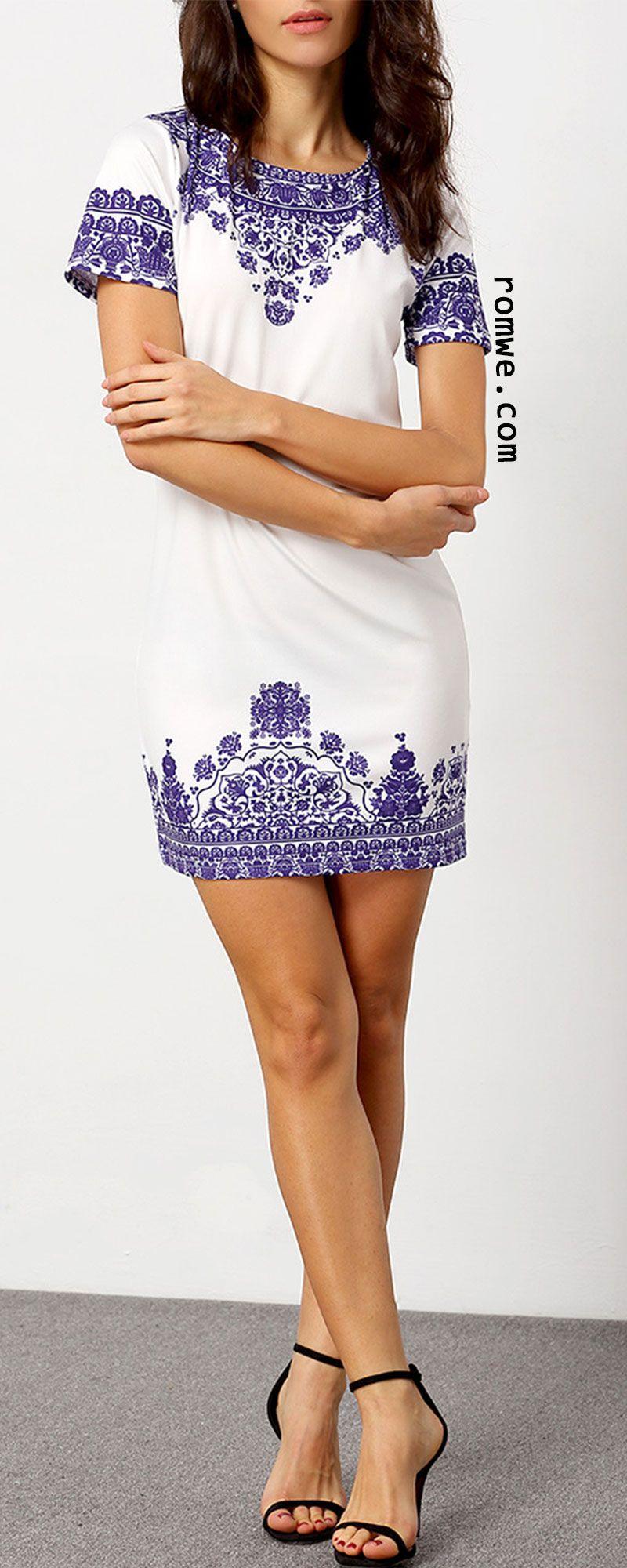 Short sleeve vintage print dress style pinterest dresses