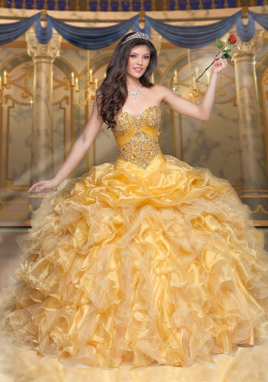 Disney royal ball quinceanera dress belle style pinterest