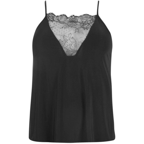 Boohoo Plus Emily Lace Detail Cami Top | Boohoo ($20) ❤ liked on Polyvore featuring tops, camisole tank, camisole tops, cami top, cami tank and cami tank tops