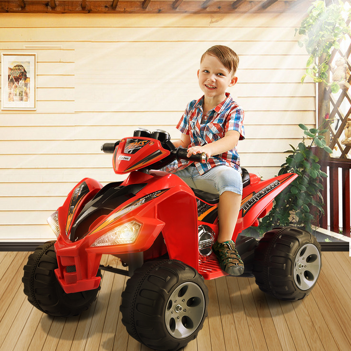 Kids ride on atv quad 4 wheeler electric toy car 12v for Motorized atv for toddlers