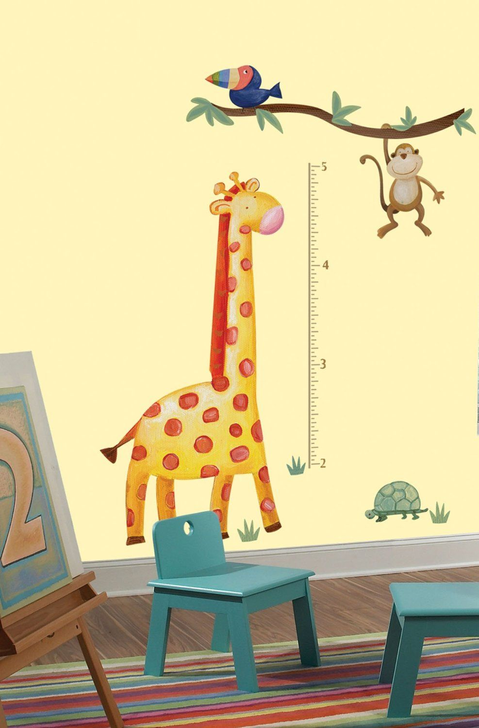 Roommates rmk2141gm jungle adventure giraffe peel and stick growth giraffe geenschuldenfo Image collections