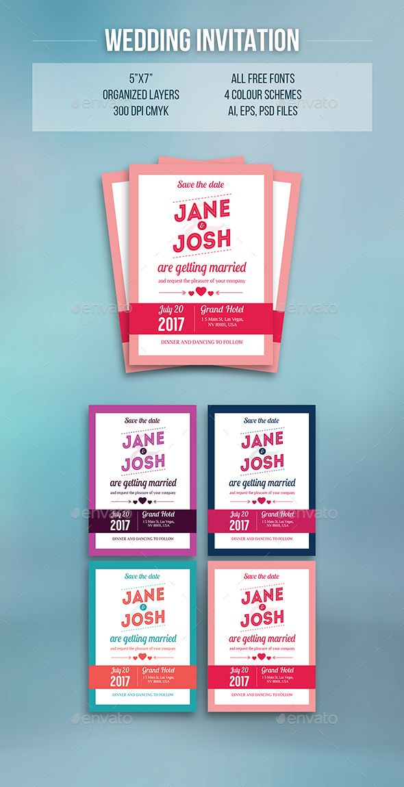 wedding invitation 4 color schemes template font logo and fonts