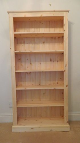 Solid pine bookcase Tall x wide Hand-Made in BARE WOOD in Home, Furniture &  DIY, Furniture, Bookcases, Shelving & Storage
