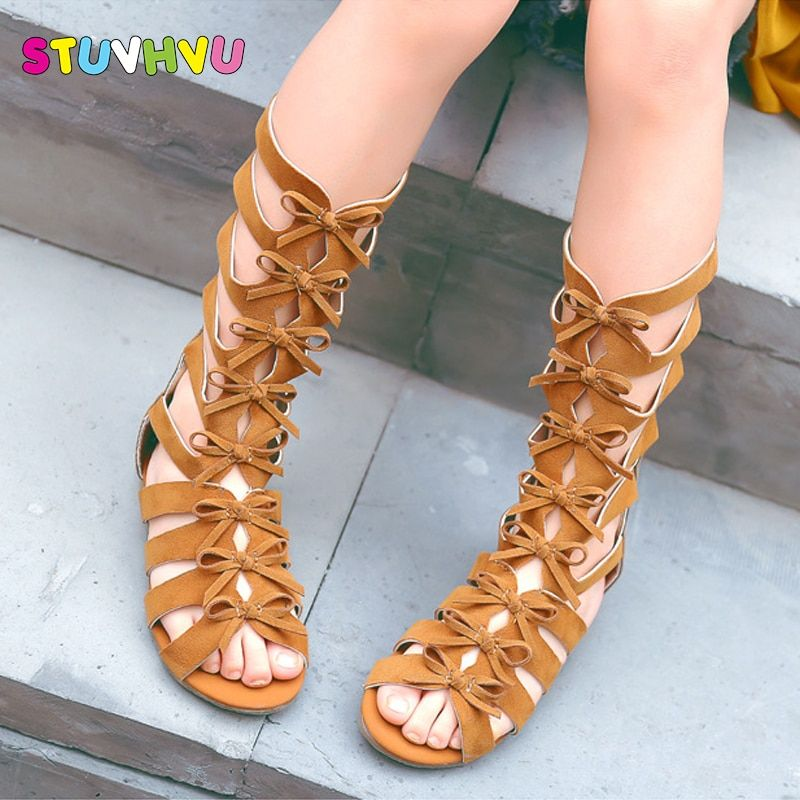 5bf8d3c3ea6 2018 Little girls gladiator sandals boots scrub leather summer brown black  high-top fashion roman kid sandals toddler baby shoes Review