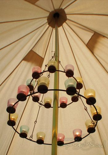 Double Multi Coloured Tea Light Chandelier | cool camping ...
