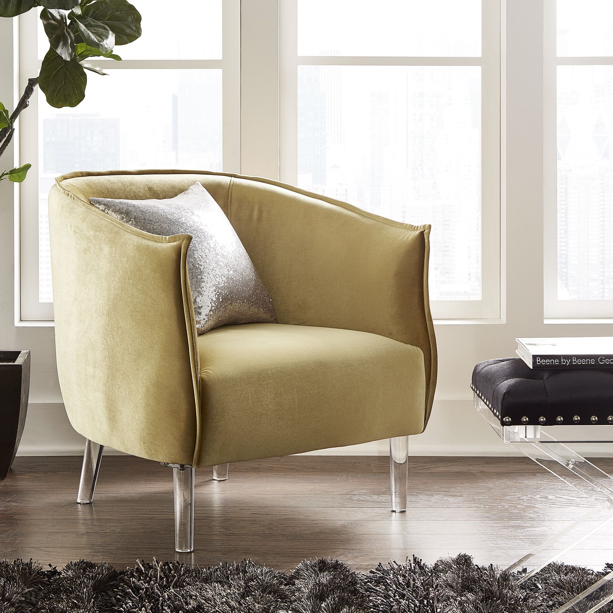 Curved Couch Designs. Vianne Velvet Curved Back Acrylic Leg Accent Chair by  iNSPIRE Q Bold (Golden Velvet)