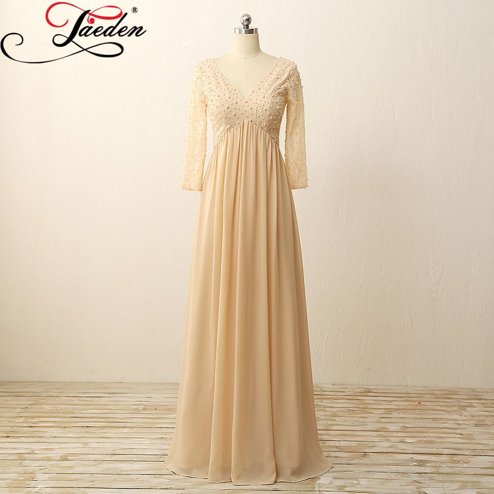 Click to buy ucuc jaeden chiffon pearls party gowns lace long sleeves