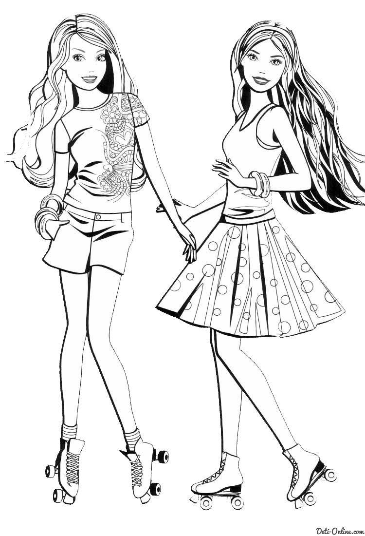 Раскраска Подружки-Барби на роликах | Раскраски, Барби и ...
