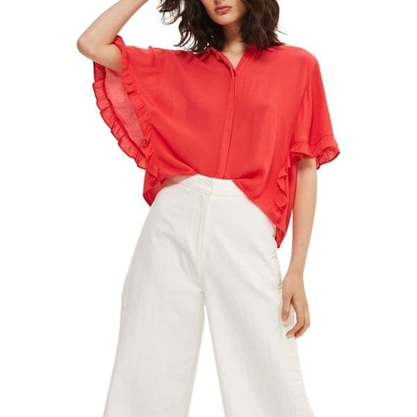 0cd0a4e3edd4e6 Women's Topshop Katie Frill Sleeve Shirt ($55) ❤ liked on Polyvore  featuring tops, red, white shirt, short-sleeve button-down shirts, red  white shirt, red ...