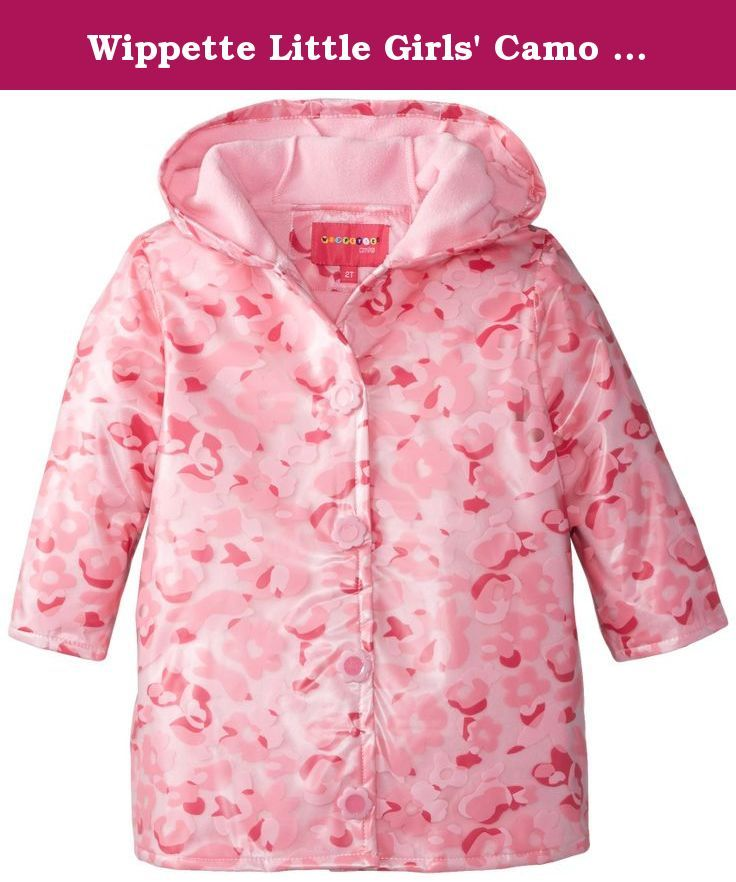 Wippette Baby Girls Hooded Waterproof Fleece Lined Heart Print Raincoat Jacket