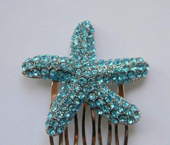 Wedding Hairstyles In Jamaica: Rhinestone Encrusted Starfish Hair Comb Blue By DanaCastle