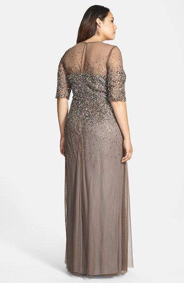 Adrianna Papell Beaded Illusion Gown (Plus Size)  a742620e8404