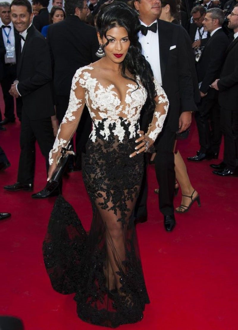 See Celebrities Wearing Her: Sexy See Through Red Carpet Dress Mermaid Two Color