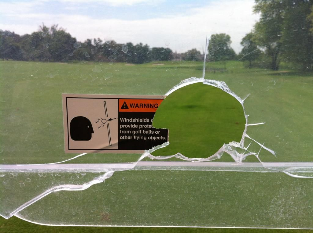 Warning Windshields Do Not Provide Protection From Golf Balls