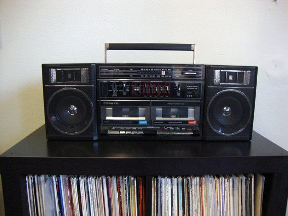 Had a boombox just like this to tape songs from the radio  or dub tapes. Vintage 80s Sanyo Cassette Player Boom Box Bedroom Stereo Dual