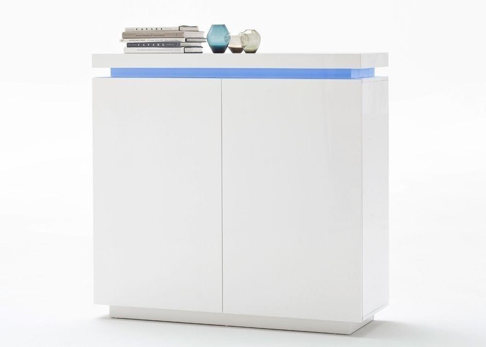Kommode Ocean Anrichte mit LED Farbwechsel Weiß Hochglanz 8199 - schlafzimmer kommode weiß hochglanz
