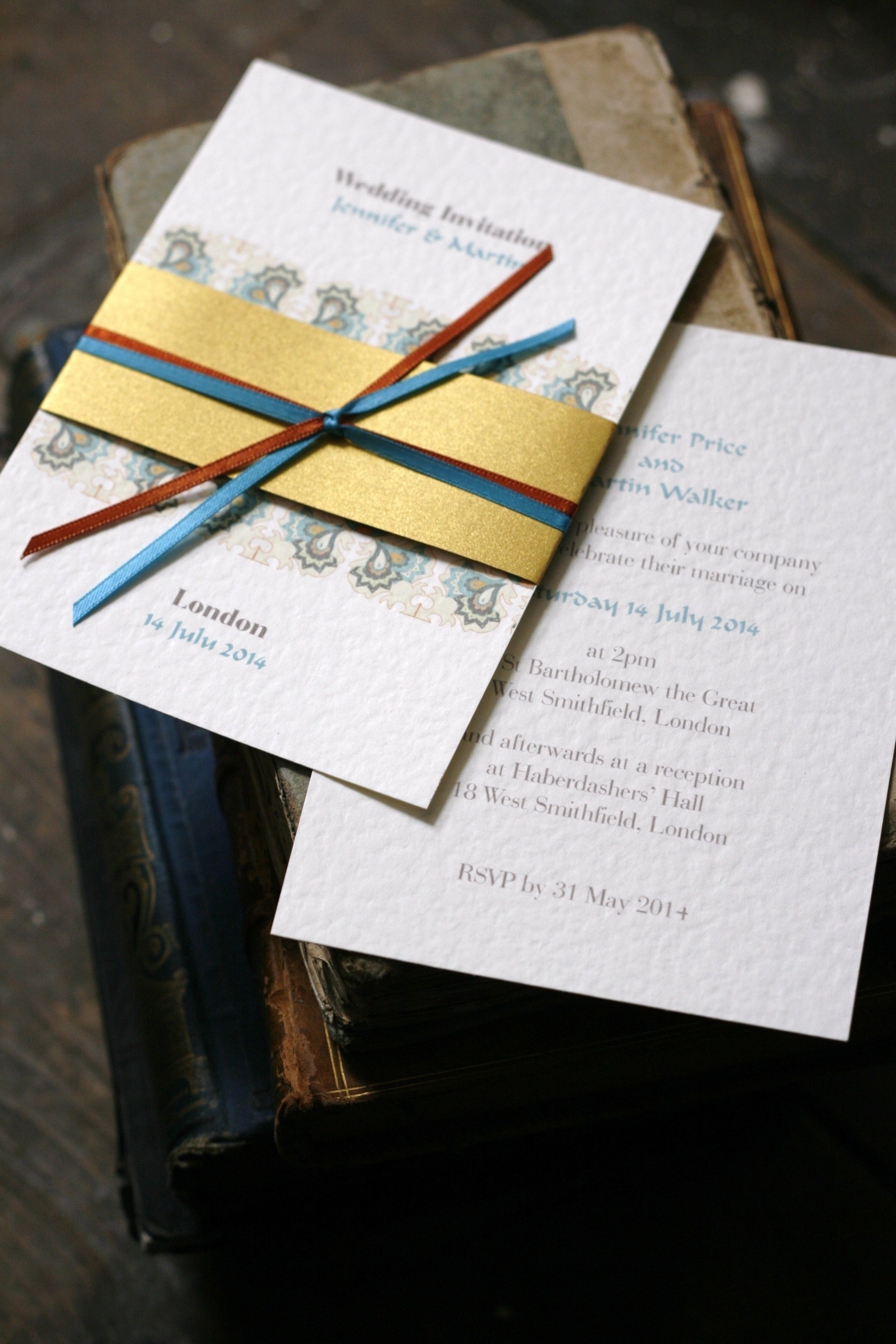 Gold Wrap Teal Paisley Wedding Invitation Asian Wedding Muslim