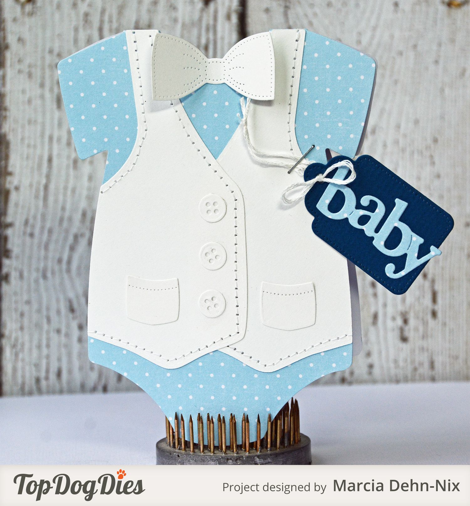 Baby Card Making Ideas Part - 24: Baby Boy Card - Scrapbook.com - Fabulous Onesie Shaped Card