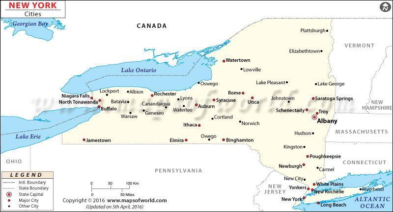 Cities In New York State Map.Map Of New York Cities United States Of America Usa Map City
