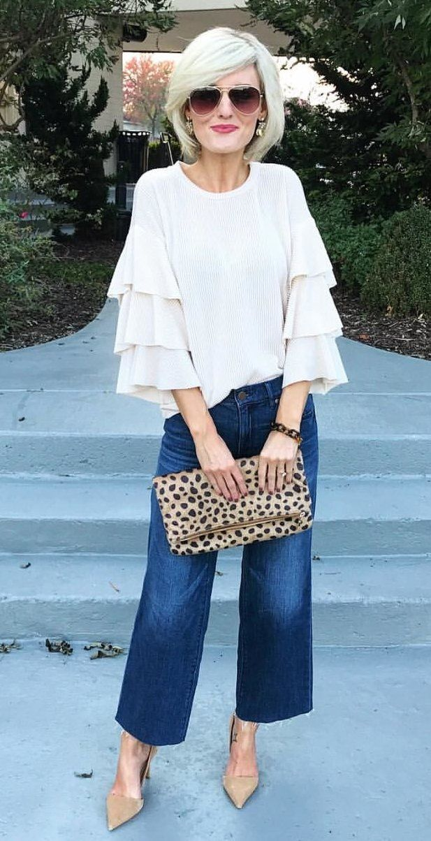 #fall #outfits women's white crew-neck 3/4-sleeved shirt with blue-washed denim straight-cut pants