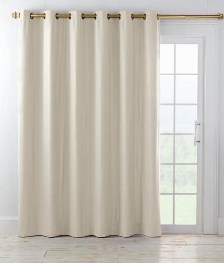 Homespun Linen Lined U0026 Interlined Grommet Patio Panel With Detachable Wand    Country Curtains®