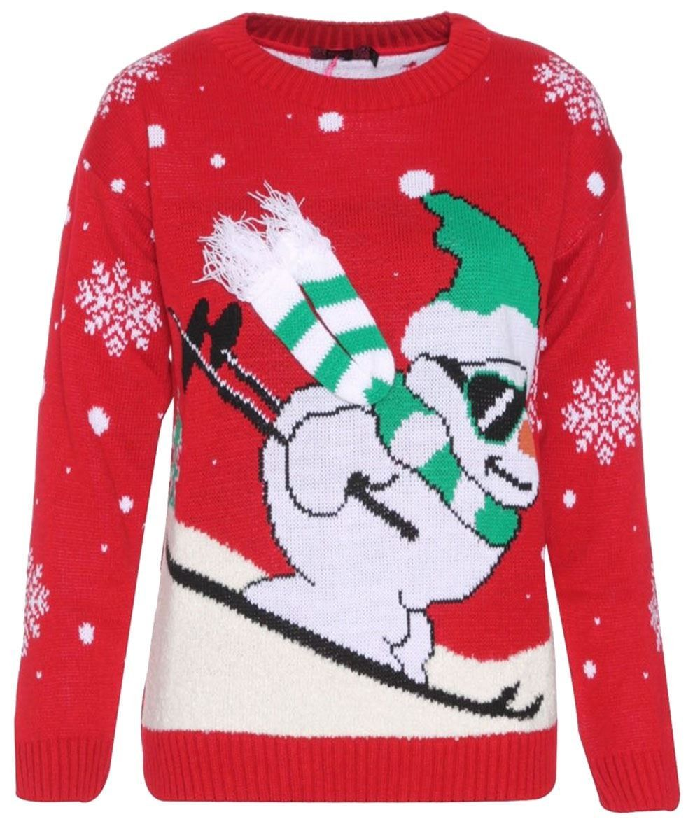 Ladies Mens Unisex Skiing Snowman 3d Scarf Christmas Jumpers Knitwear Tops at Amazon Men's Clothing store: