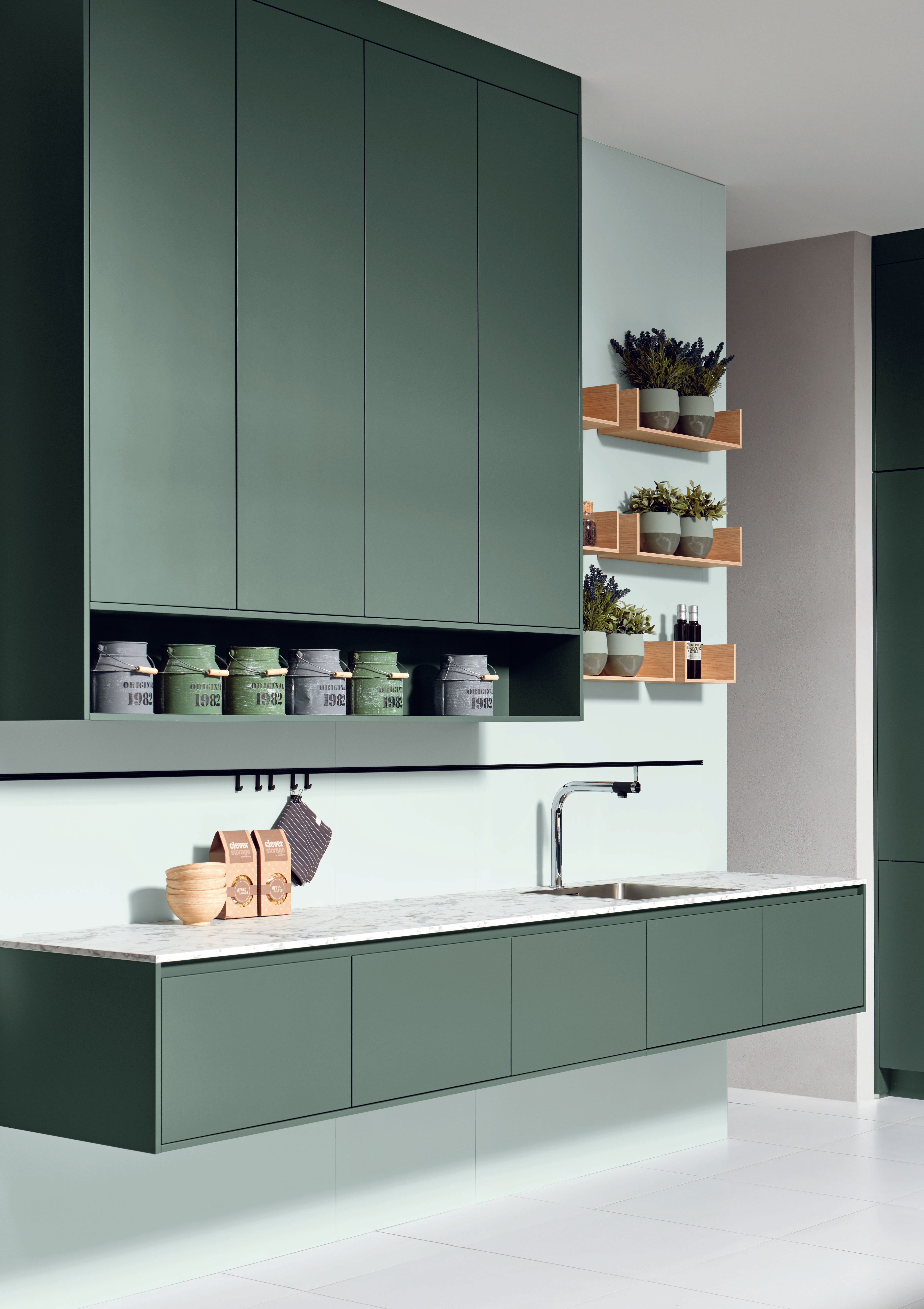 Best Green Contemporary Handleless German Kitchen With Tall 640 x 480
