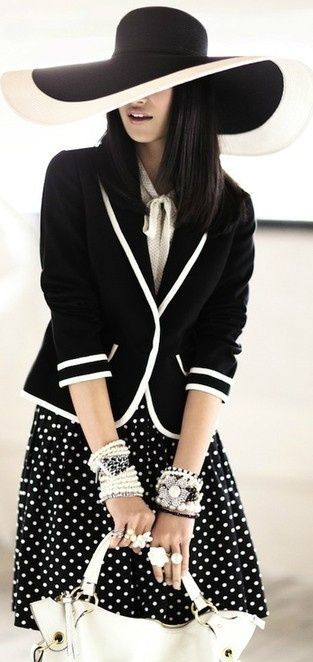 45d02e4187e1a Love the polka dot skirt with the blazer with a solid color top. No hat!
