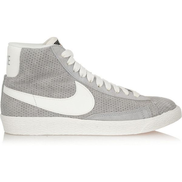 08b42926927 Nike Blazer perforated suede high-top sneakers ( 125) ❤ liked on Polyvore  featuring shoes