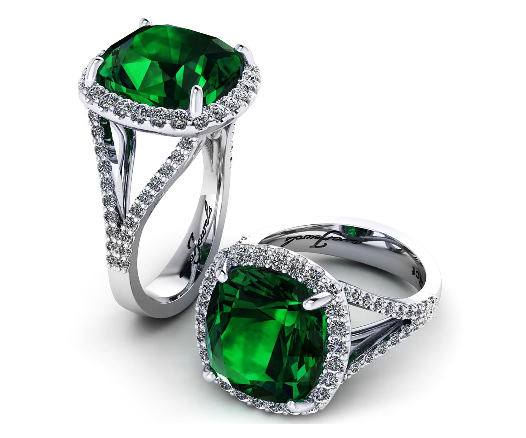 devotion more pin faberg cut cushion emerald ring