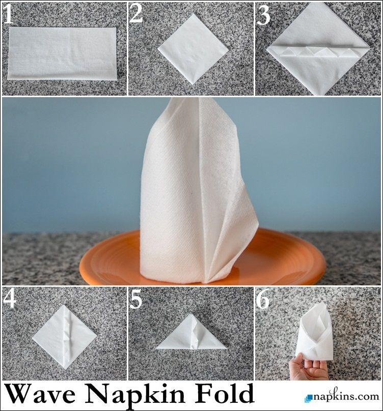 wave napkin fold how to fold a napkin pinterest napkin folding napkins and fancy napkin. Black Bedroom Furniture Sets. Home Design Ideas
