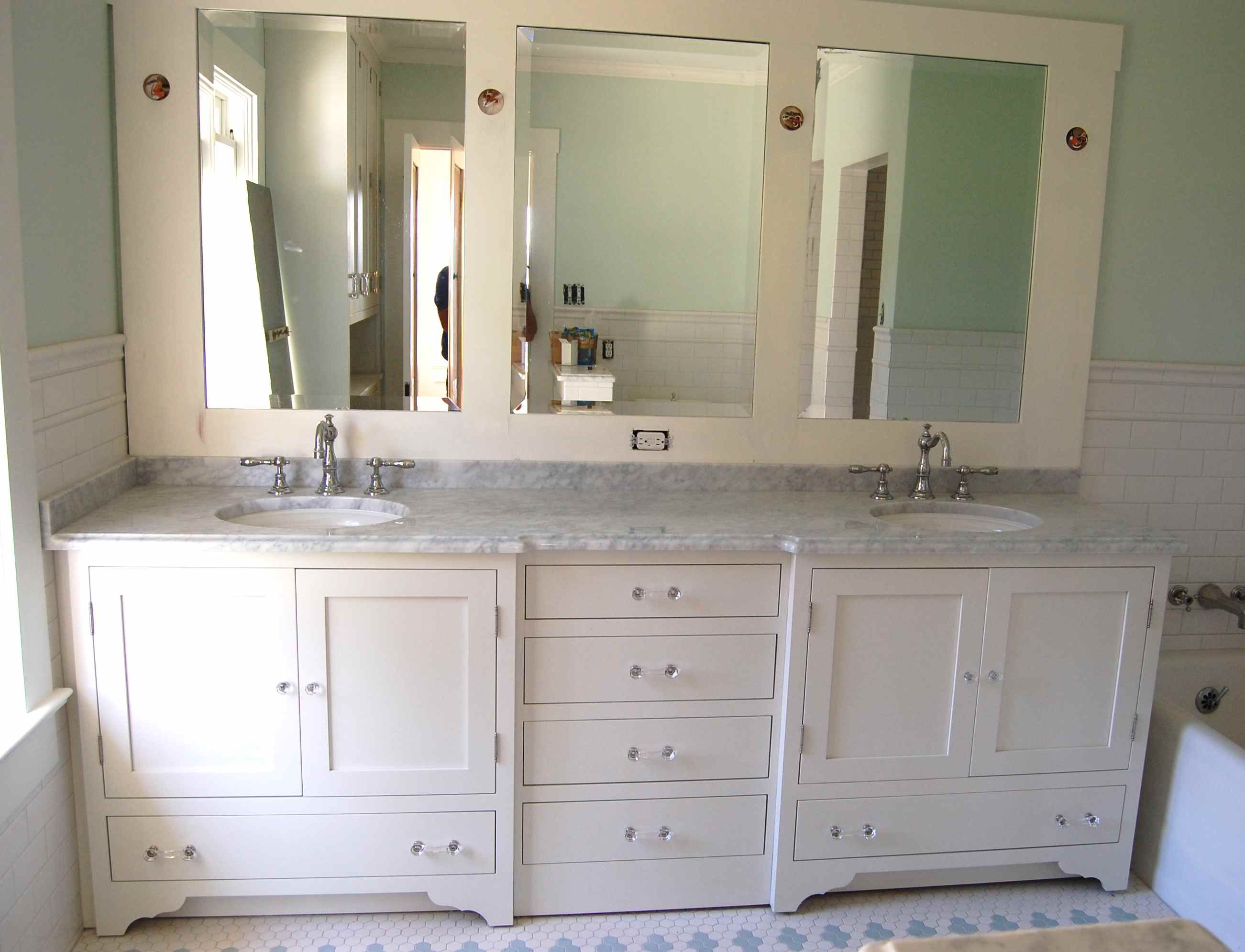 Bathroom Lastest Furniture Tremendous Grey Marble Countertop Double Sink Cabinet Ideas In White Painted With Frame
