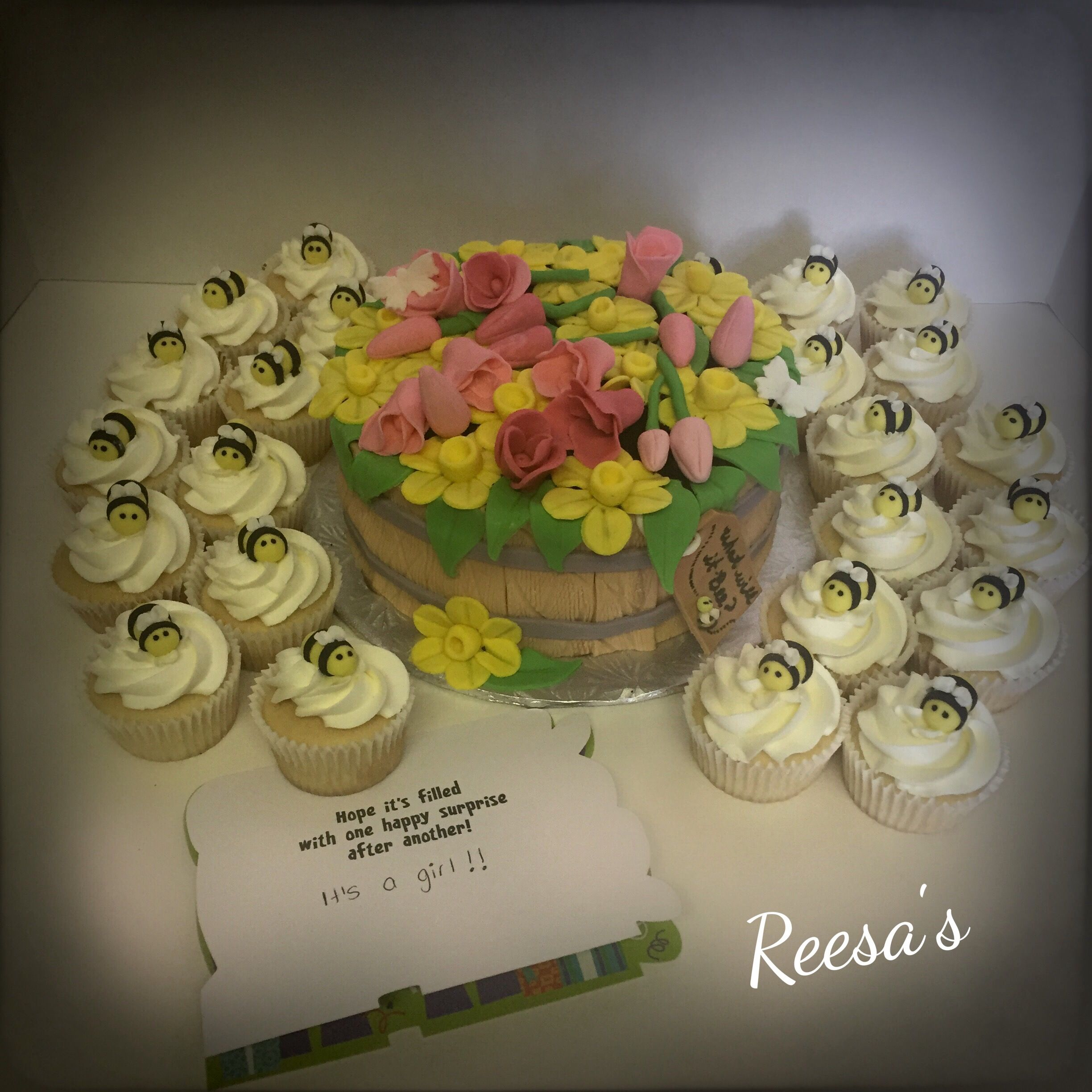 """One of my favourites I've done. Baby reveal cake. """"What will it bee?"""""""