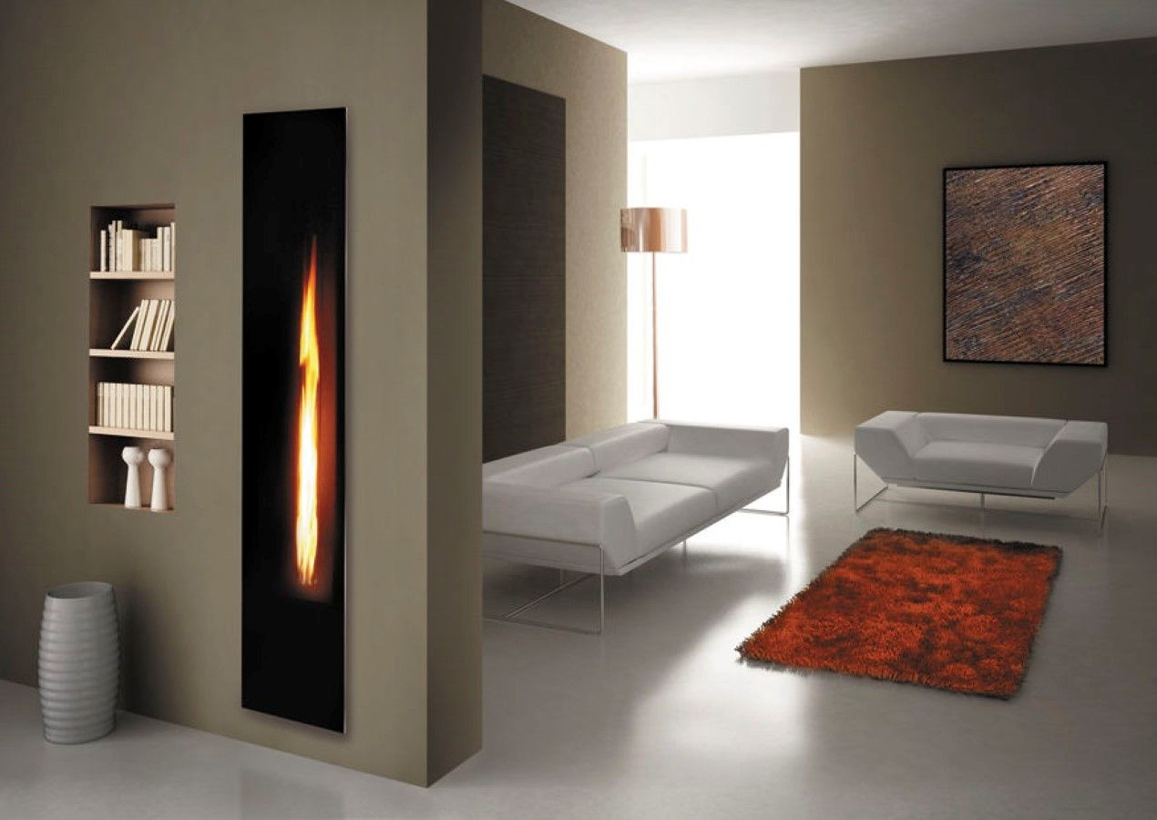 narrow wall shelves insert design beside double sided vertical wall mounted gas fireplace room divider next to white living room seating area