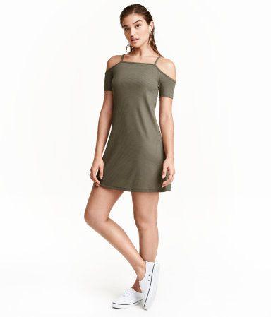 Cold-Shoulder-Kleid | Khakigrün | Ladies | H&M DE | My Style ...