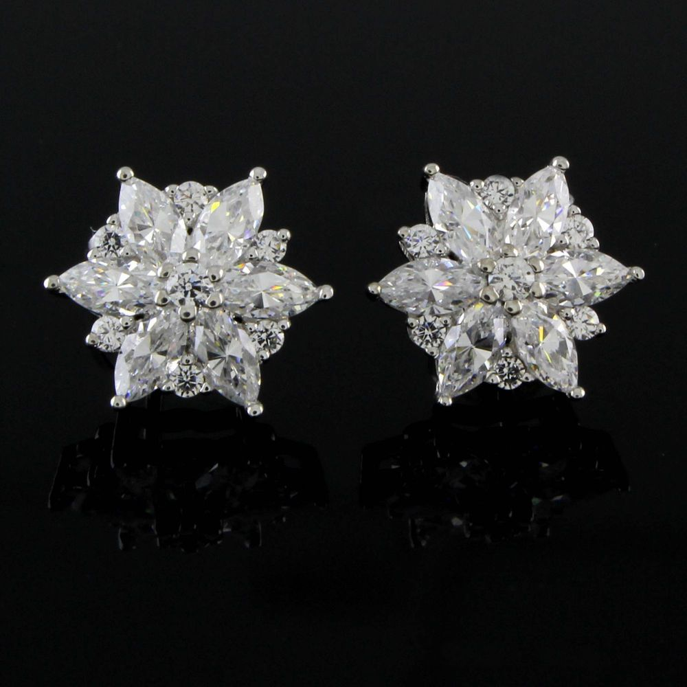 Stud 14k White Gold Vvs1 Fine Diamond Earrings Ebay