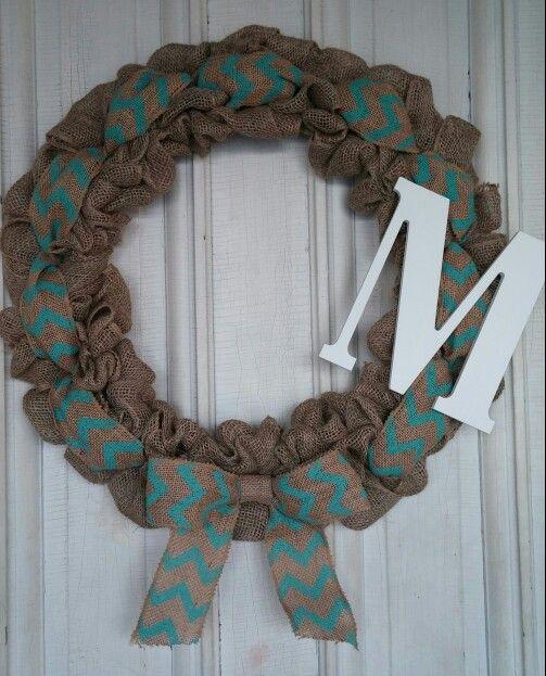 Teal Chevron Wreath