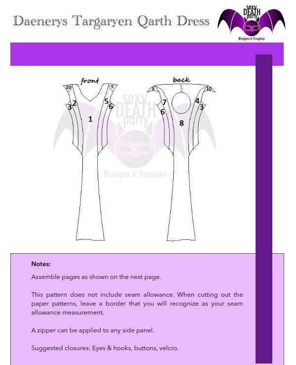 A complete Daenerys Targaryen Qarth Dress Sewing Pattern made by ...
